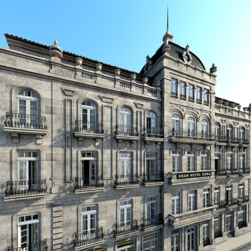 Render 3D Gran Hotel Roma Ourense