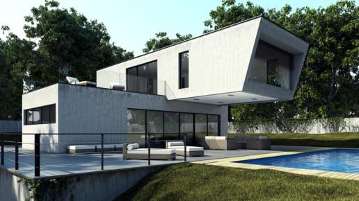 Vista diurna 3D de una casa unifamiliar