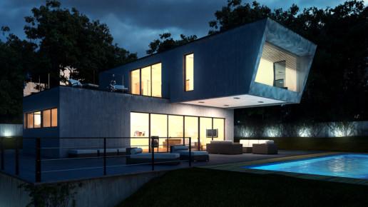 Vista nocturna 3D de una casa unifamiliar
