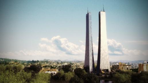 visualización 3d de un rascacielos